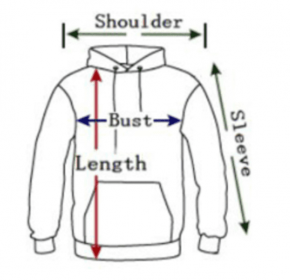 3D Hoodie Sizing Chart