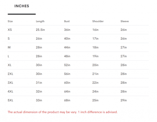 3D Hoodie Sizing Chart Inches