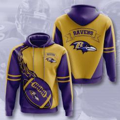 NFL Baltimore Ravens 3D Hoodie V4