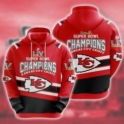 NFL Kansas City Chiefs 3D Hoodie Super Bowl LV