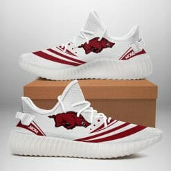 NCAA Arkansas Razorbacks Yeezy Boost White Sneakers V2