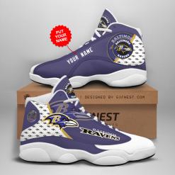 NFL Baltimore Ravens Air Jordan 13 Shoes Personalized V4