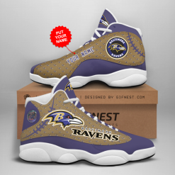 NFL Baltimore Ravens Air Jordan 13 Shoes Personalized V6