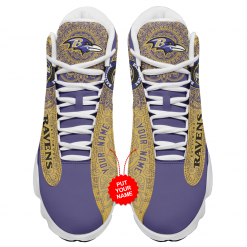 NFL Baltimore Ravens Air Jordan 13 Shoes Personalized V3