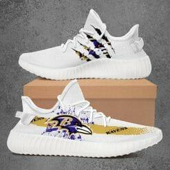 NFL Baltimore Ravens Yeezy Boost White Sneakers V1