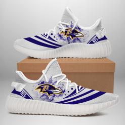 NFL Baltimore Ravens Yeezy Boost White Sneakers V2