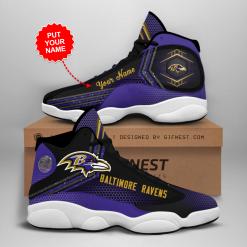 NFL Baltimore Ravens Air Jordan 13 Shoes Personalized V1