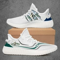 NCAA Cal Poly Mustangs Yeezy Boost White Sneakers V3