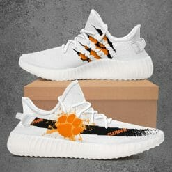 NCAA Clemson Tigers Yeezy Boost White Sneakers V1