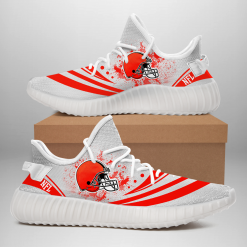 NFL Cleveland Browns Yeezy Boost White Sneakers V2