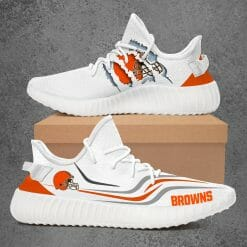 NFL Cleveland Browns Yeezy Boost White Sneakers V3