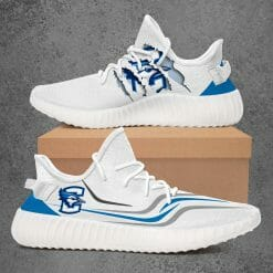 NCAA Creighton Bluejays Yeezy Boost White Sneakers V3