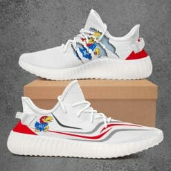 NCAA Kansas Jayhawks Yeezy Boost White Sneakers V3
