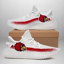 NCAA Louisville Cardinals Yeezy Boost White Sneakers V1