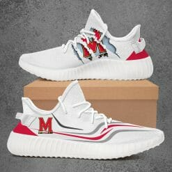 NCAA Maryland Terrapins Yeezy Boost White Sneakers V3