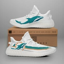 NFL Miami Dolphins Yeezy Boost White Sneakers V1