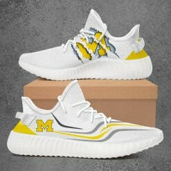NCAA Michigan Wolverines Yeezy Boost White Sneakers V3