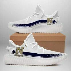 NCAA Navy Midshipmen Yeezy Boost White Sneakers V1