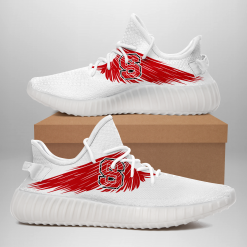 NCAA NC State Wolfpack Yeezy Boost White Sneakers V4
