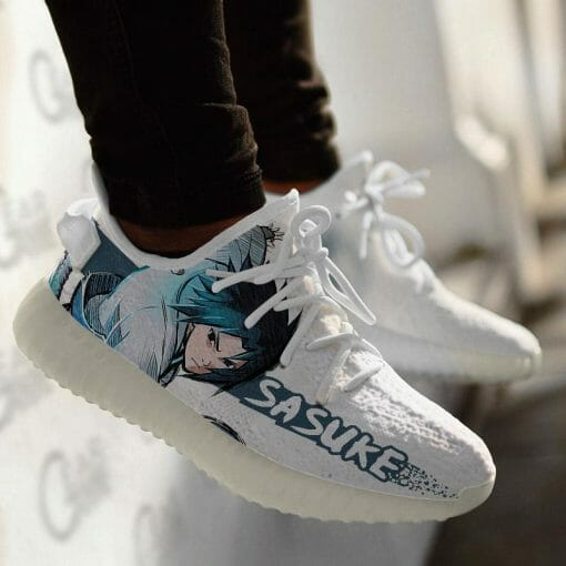 Naruto Anime Sasuke Uchiha Yeezy Boost White Sneakers V1