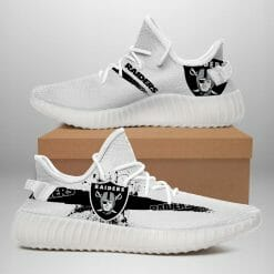 NFL Oakland Raiders Yeezy Boost White Sneakers V1