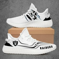 NFL Oakland Raiders Yeezy Boost White Sneakers V3