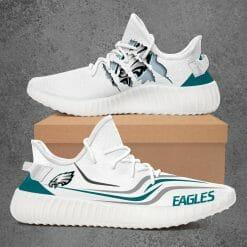 NFL Philadelphia Eagles Yeezy Boost White Sneakers V3