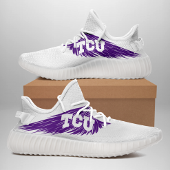 NCAA TCU Horned Frogs Yeezy Boost White Sneakers V4